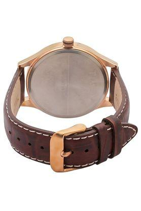 Mens Beige Dial Leather Multi-Function Watch - TW000T311