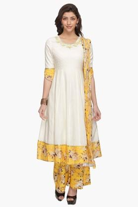 HAUTE CURRYWomens Solid Embroidered Anarkali Palazzo Suit