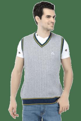 MONTE CARLOMens Sleeveless V Neck Slim Fit Stripe Sweater - 9846925
