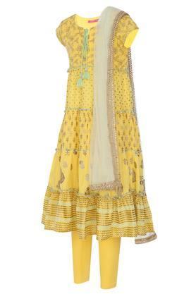 Girls Tie Up Neck Printed Tiered Churidar Suit