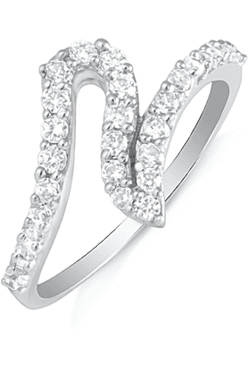 MAHI Mahi Rhodium Plated Charismatic Charm Finger Ring With CZ For Women FR1100611R