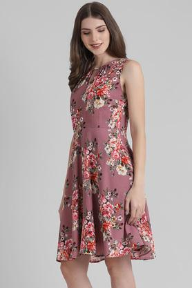 Womens Key Hole Neck Floral Print Flared Dress