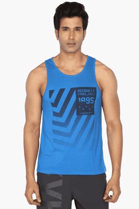 REEBOKMens Round Neck Sleeveless Printed T-Shirt