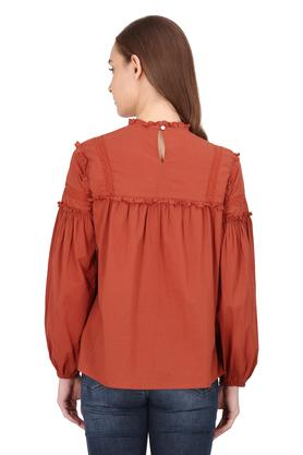 Womens Ruffled Collar Embroidered Top