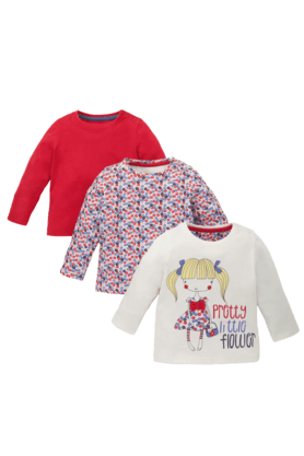 MOTHERCARE Baby Pretty Little Flower T-Shirts - Pack Of 3