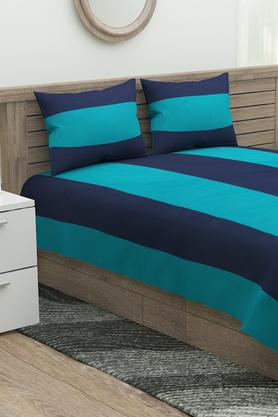 Stripe Double Bed Sheet with 2 Pillow Cover