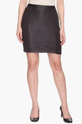 ALLEN SOLLY Womens Self Pattern Mini Skirt