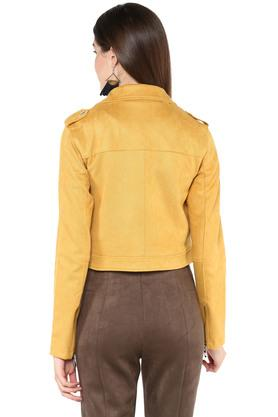 Womens Notched Lapel Solid Bikers Jacket