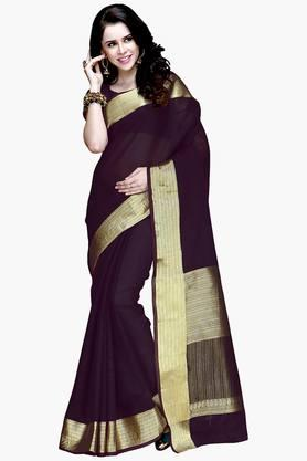 ISHIN Women Mercerised Cotton Woven Zari Border Saree - 202274294