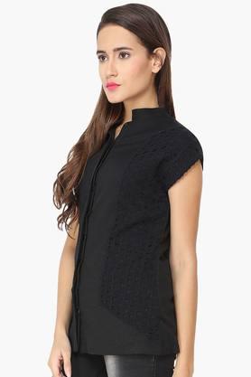 Womens Cutout-detailed Mandarin Collar Top