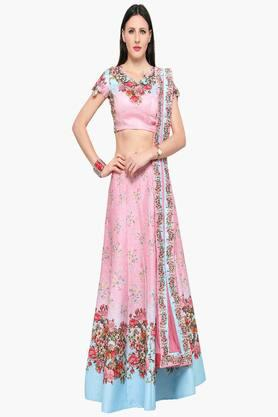 Womens Semi Stitched Designer Neck Sheer Back Printed Lehenga Choli
