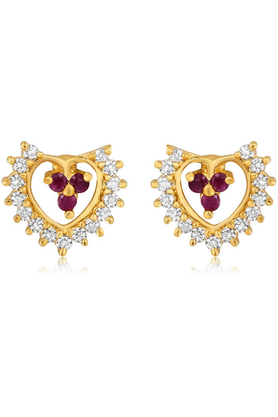 MAHIMahi Gold Plated Wedlock Earrings With CZ & Ruby Stones For Women ER1193518G