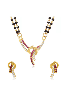 MAHI Mahi Gold Plated Sacred Love Mangalsutra Set With CZ & Ruby For Women NL1103513G2