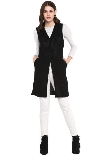 Womens V Neck Solid Knitted Cardigan